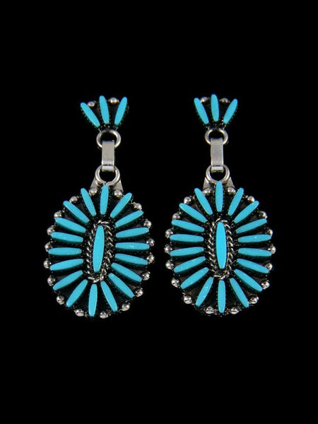 Sterling Silver Zuni Needlepoint Turquoise Dangle Earrings