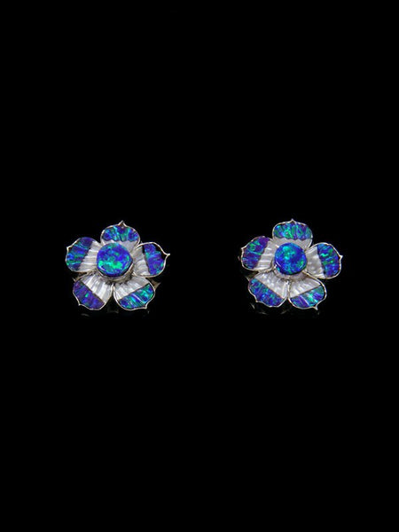 Zuni Sterling Silver Opalite Flower Post Earrings