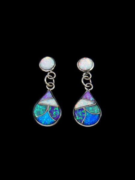 Sterling Silver Zuni Opalite Inlay Post Earrings