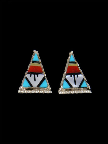 Turquoise Sterling Silver Zuni Post Earrings