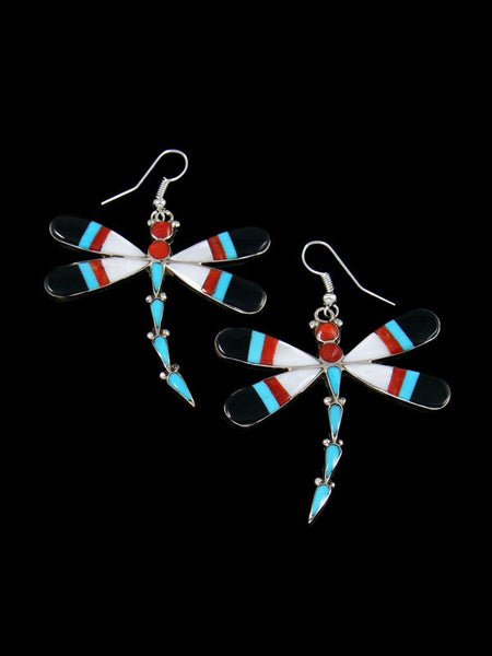 Turquoise and Coral Inlay Dragonfly Dangle Earrings