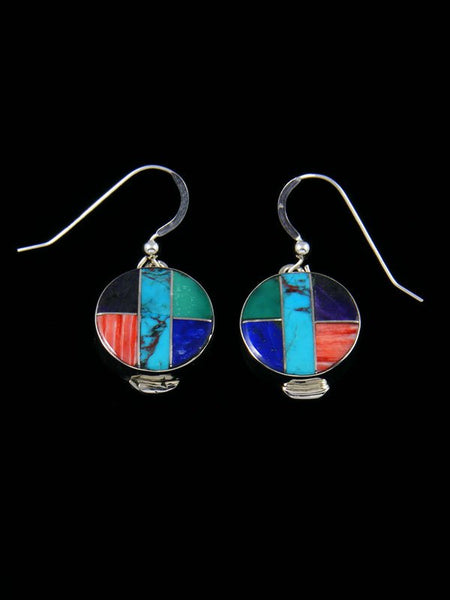 Native American Sterling Silver Multi Stone Inlay Earrings