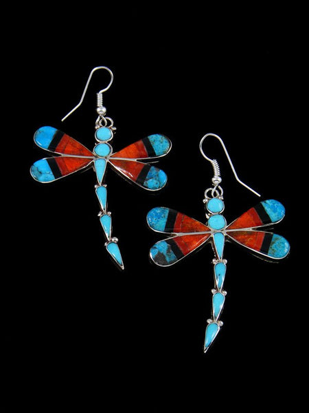 Spiny Oyster and Turquoise Inlay Dragonfly Dangle Earrings