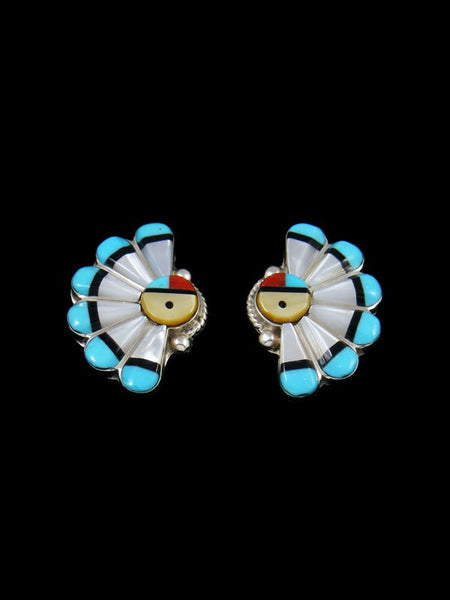 Turquoise Sterling Silver Sunface Zuni Post Earrings