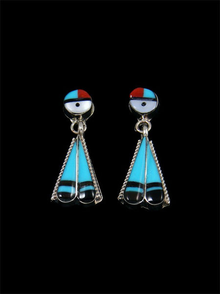 Native American Indian Jewelry Zuni Inlay Sunface Earrings