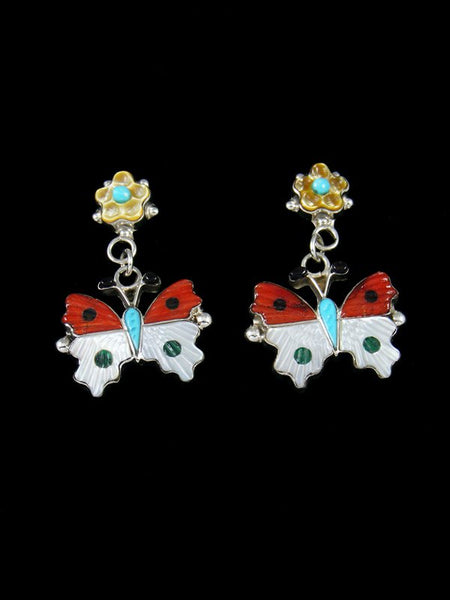 Coral Inlay Zuni Butterfly Post Earrings