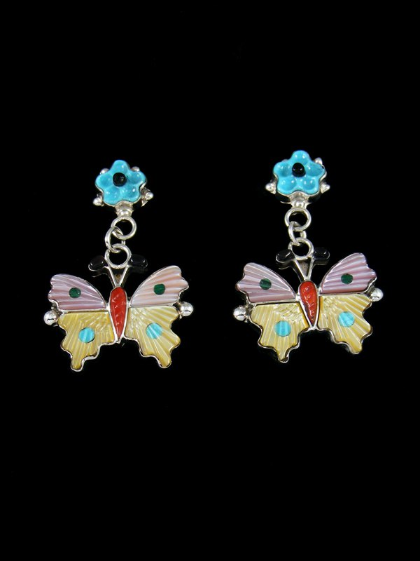 Turquoise Inlay Zuni Butterfly Post Earrings