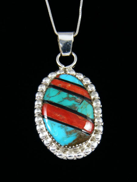 Native American Sterling Silver Zuni Coral Inlay Pendant