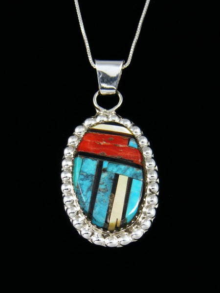 Native American Sterling Silver Zuni Turquoise Inlay Pendant