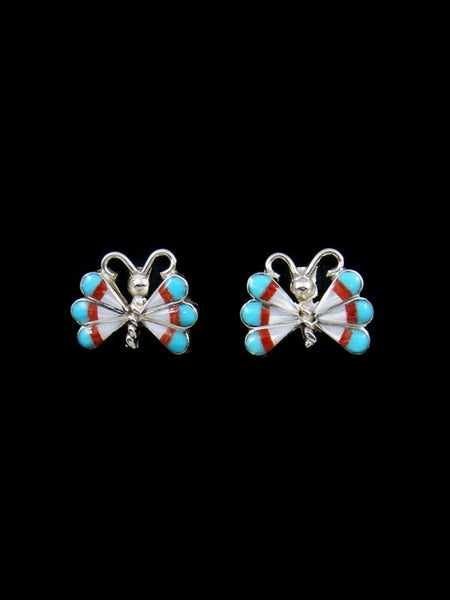 Zuni Inlay Mother of Pearl Butterfly Post Earrings