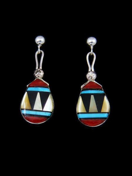 Sterling Silver Zuni Inlay Coral Post Earrings