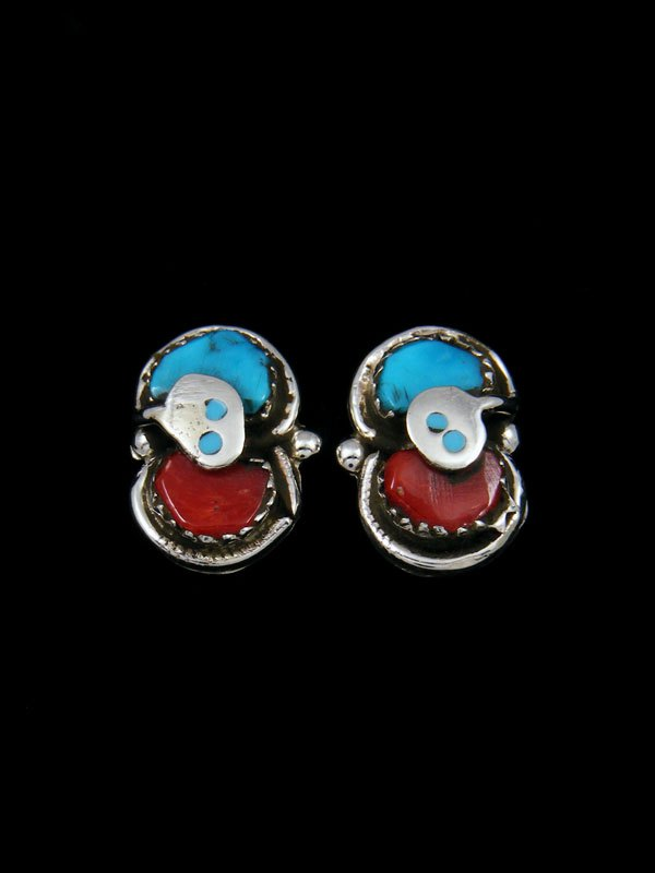 Native American Indian Jewelry Turquoise and Coral Snake Zuni Earrings