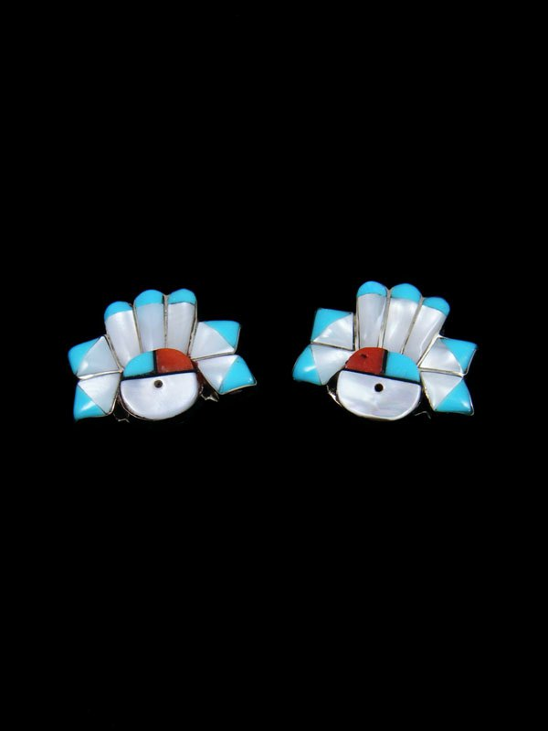 Zuni Inlay Mother of Pearl Sunface Post Earrings