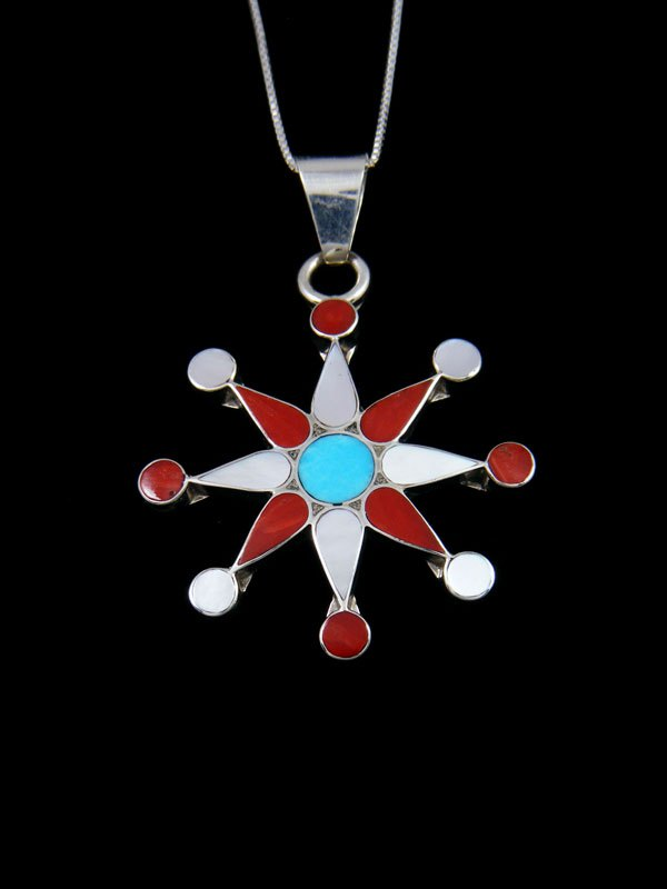Native American Zuni Inlay Coral Star Pendant