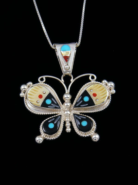 Native American Zuni Inlay Penn Shell Butterfly Pendant