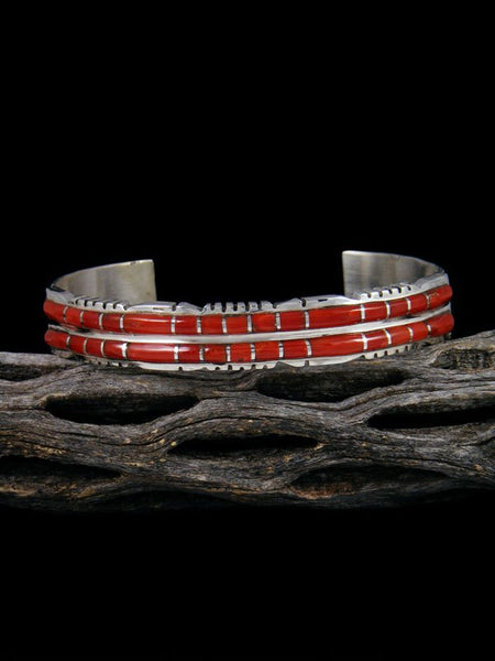 Double Row Sterling Silver Zuni Coral Inlay Bracelet