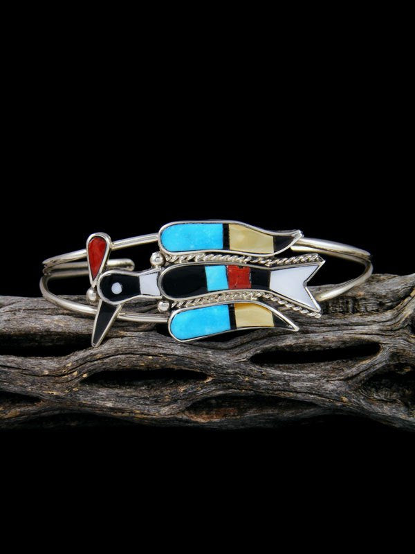 Native American Zuni Pueblo Peyote Bird Inlay Bracelet