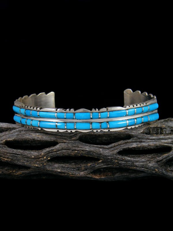 Double Row Sterling Silver Zuni Turquoise Inlay Bracelet