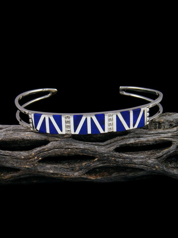 Sterling Silver Zuni Lapis Inlay Cuff Bracelet