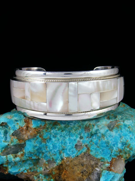 Sterling Silver Zuni Mother of Pearl Inlay Cuff Bracelet