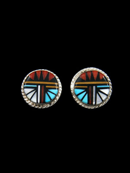 Native American Zuni Inlay Post Earrings