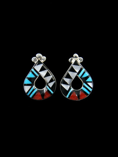 Native American Zuni Inlay Turquoise Post Earrings