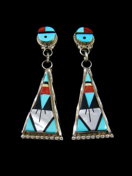 Native American Indian Jewelry Zuni Inlay Earrings