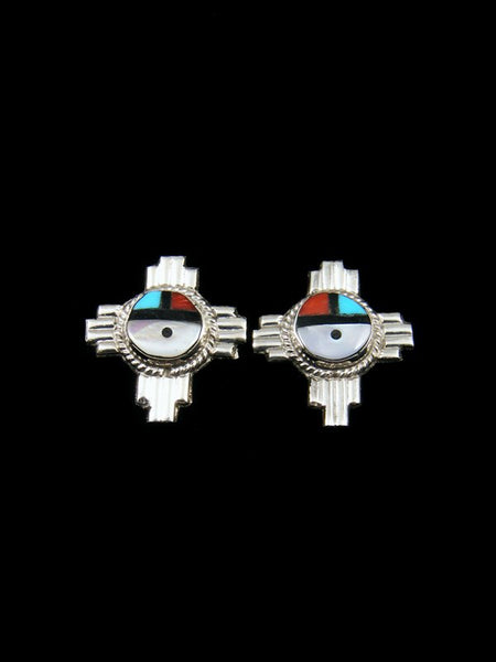 Zuni Inlay Zia Sunface Post Earrings
