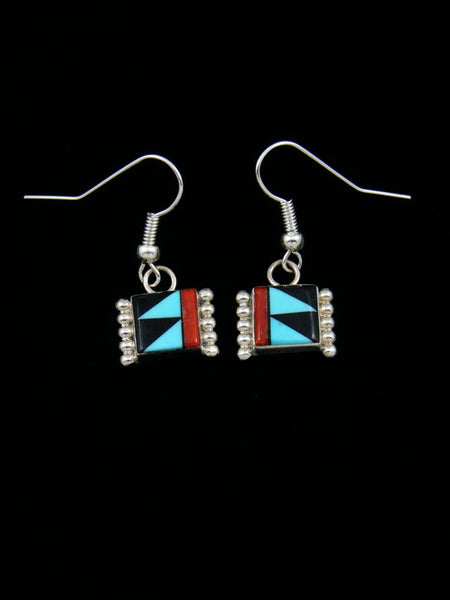 Sterling Silver Turquoise Zuni Dangle Earrings
