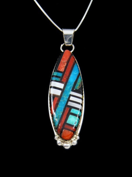 Native American Sterling Silver Zuni Inlay Pendant