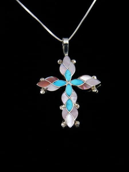 Sterling Silver Zuni Inlay Pink Shell Cross Necklace Pendant
