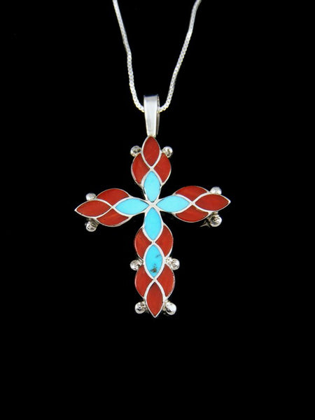 Sterling Silver Zuni Inlay Coral Cross Necklace Pendant
