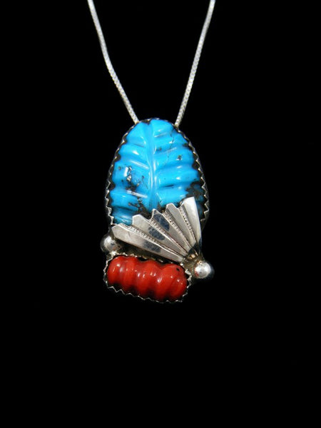 Carved Turquoise Leaf and Coral Zuni Pendant