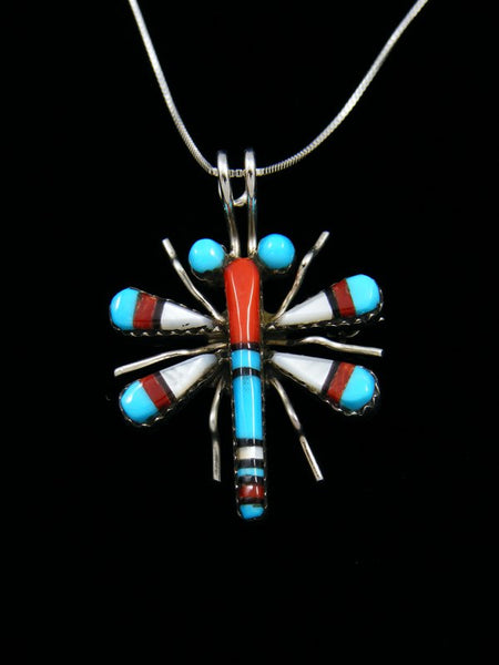 Native American Sterling Silver Zuni Inlay Dragonfly Pendant