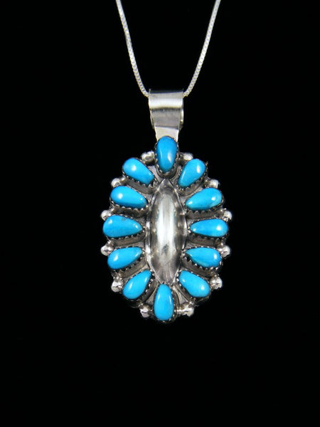 Native American Sterling Silver Zuni Turquoise Pendant