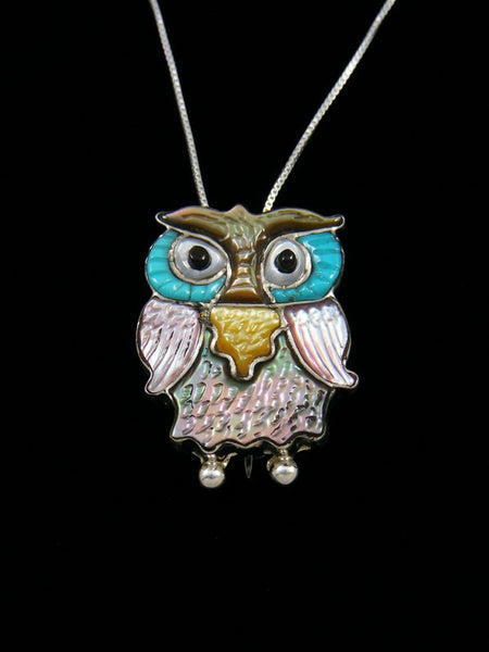 Native American Zuni Inlay Pink Shell Owl Pin Pendant