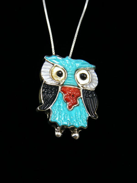 Native American Zuni Inlay Turquoise Owl Pin Pendant