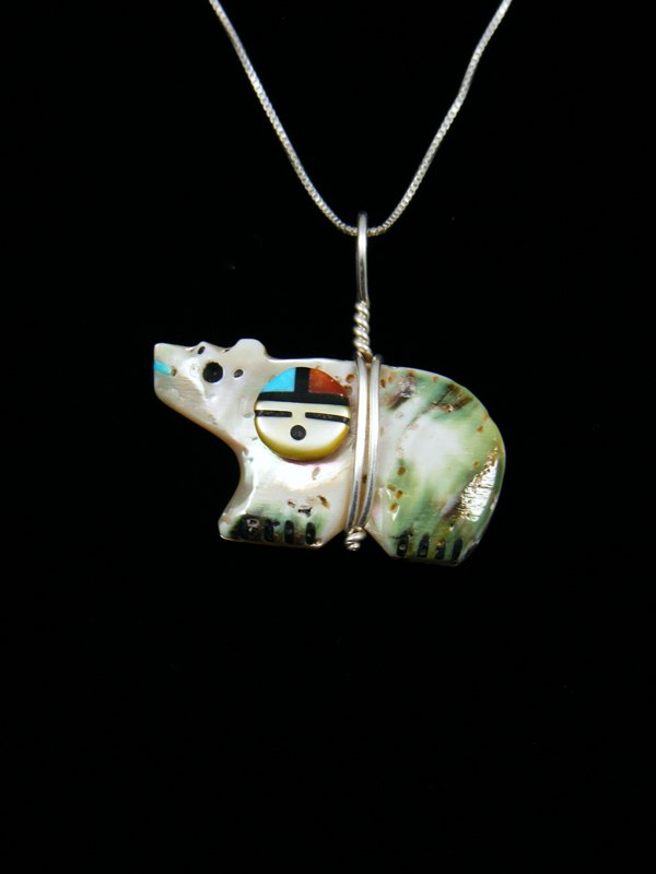 Shell sunface zuni bear fetish pendant by darrin boone at shell sunface zuni bear fetish pendant mozeypictures