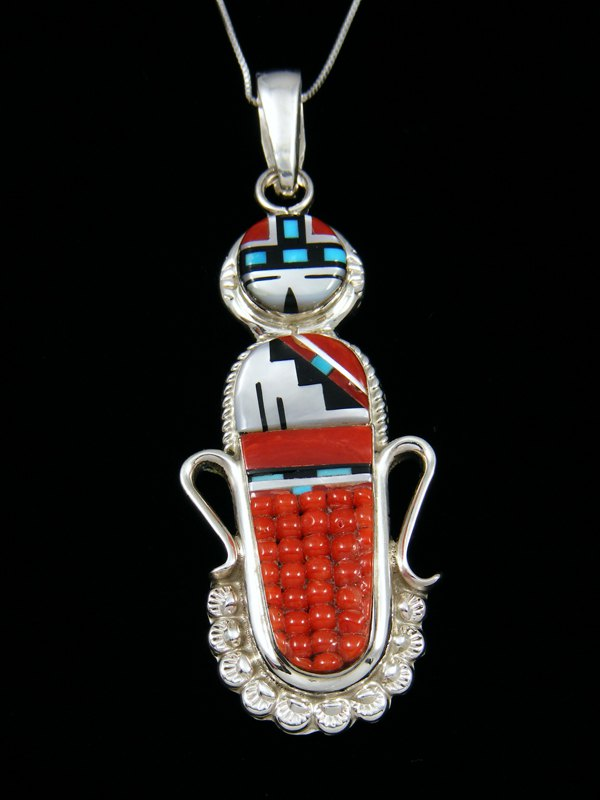 Native American Sterling Silver Zuni Inlay Sunface Pendant