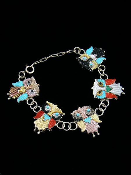 Native American Zuni Owl Turquoise Inlay Link Bracelet