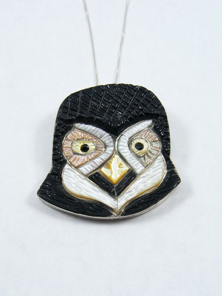 Sterling Silver Zuni Inlay Owl Pin/Pendant
