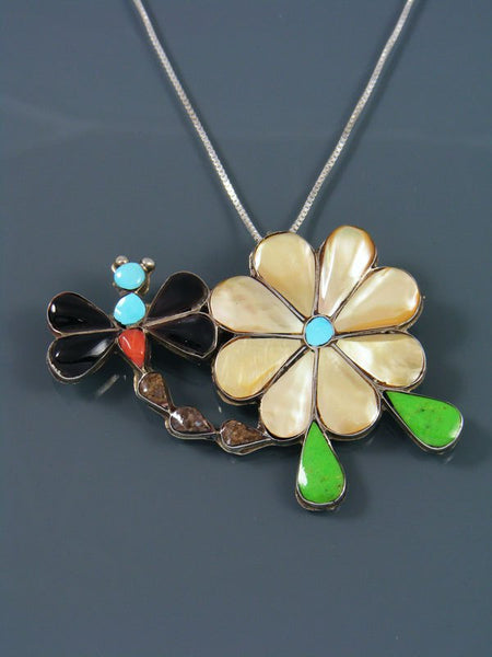 Dragonfly Flower Sterling Silver Zuni Inlay Pin Pendant