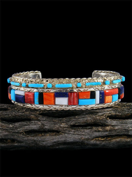 Native American Spiny Oyster and Turquoise Inlay Cuff Bracelet