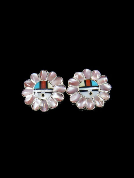 Zuni Inlay Sunface Post Earrings
