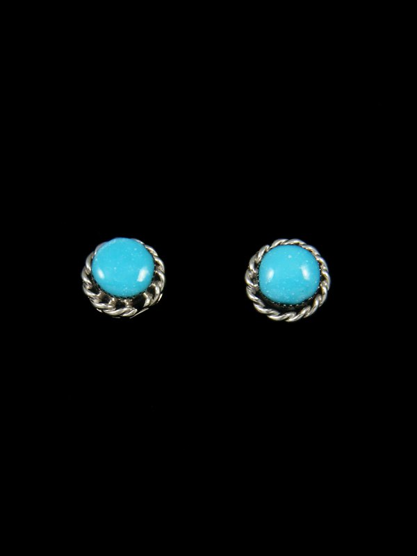 Navajo Jewelry Sterling Silver Turquoise Dot Post Earrings