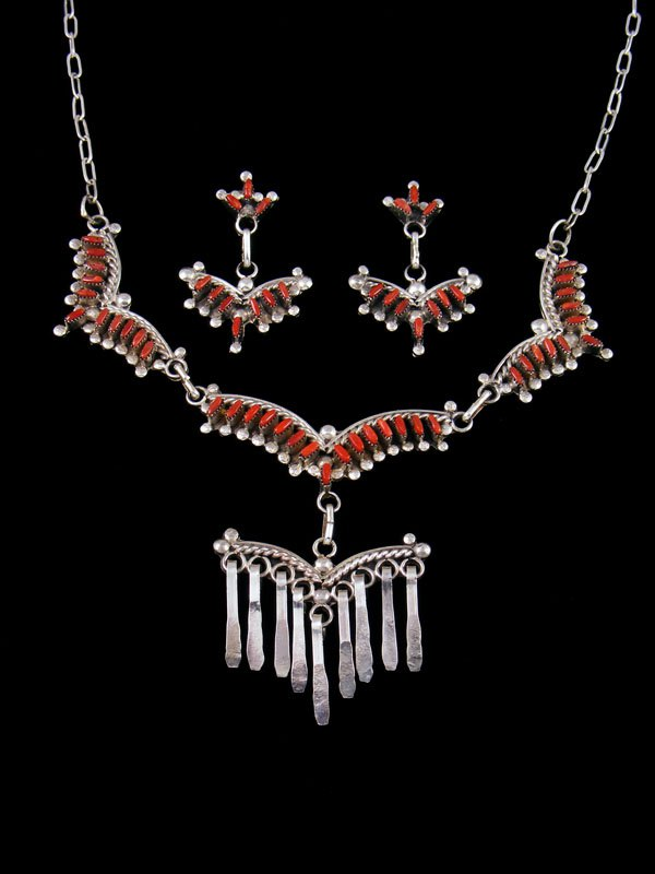 Native American Zuni Coral Necklace and Earrings Set