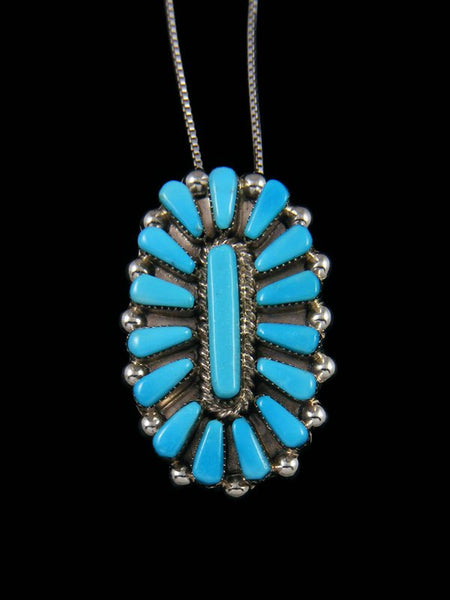 Turquoise Inlay Sterling Silver Zuni Pin Pendant