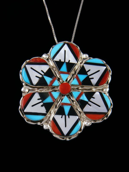 Native American Zuni Inlay Flower Pin Pendant