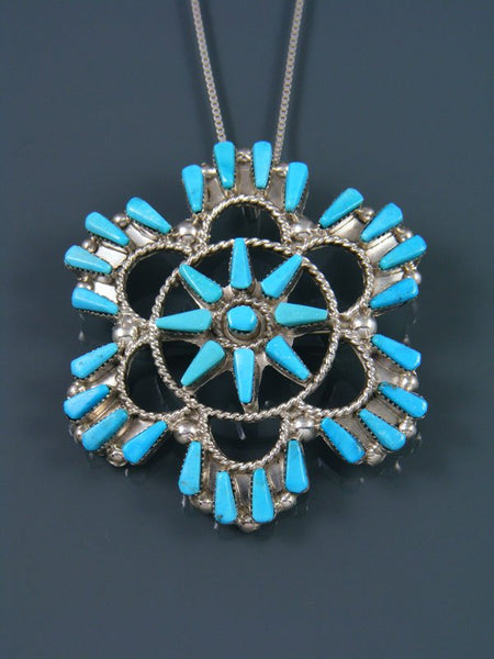 Turquoise Flower Sterling Silver Zuni Pin Pendant