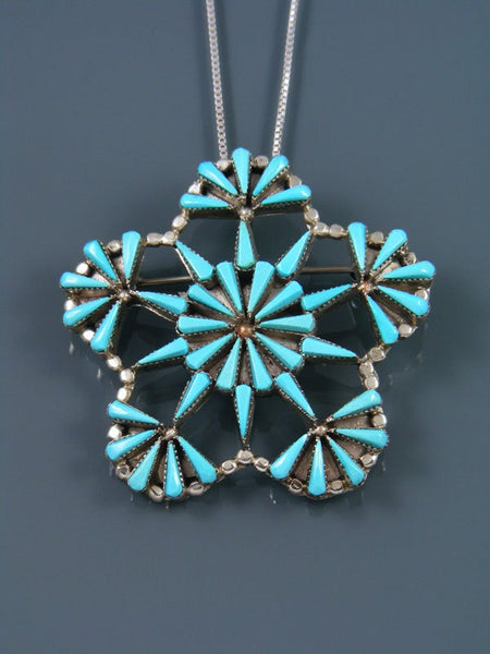 Zuni Inlay Sterling Silver Turquoise Pin Pendant